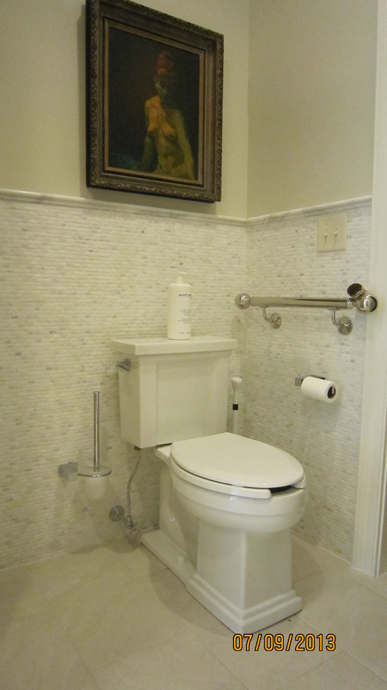 Toilet Brush Holder Bathroom Traditional with Art Grab Bar Handicap Access Heated Floor Marble Wall Surround Wall Hung