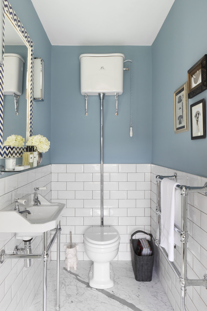 Toilet Brush Holder Powder Room Traditional with Blue Bathroom Blue Cloakroom Chevron Framed Mirror Cistern Cloakroom Downstairs Loo Flush