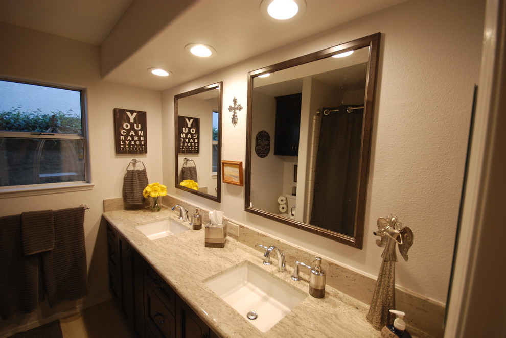 Toilet Paper Roll Holder Bathroom Transitional with Chrome Faucet Chrome Fixtures Dark Cabinets Framed Mirror Granite Gray Bathroom Gray