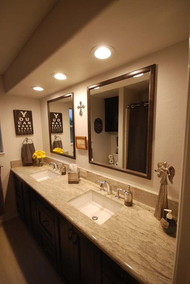 Toilet Paper Roll Holder Bathroom Transitional with Chrome Faucet Chrome Fixtures Dark Cabinets Framed Mirror Granite Gray Cabinets Grey