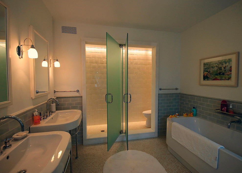 Toilet Safety Rails Bathroom Contemporary with Bath Caddy Bath Mat Console Sinks Framed Mirrors Glass Shower Doors Green