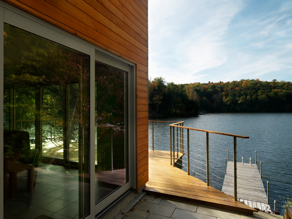 toilet safety rails Patio Modern with cable railing dock Exterior lake house Landscape Patio patio door siding terrace