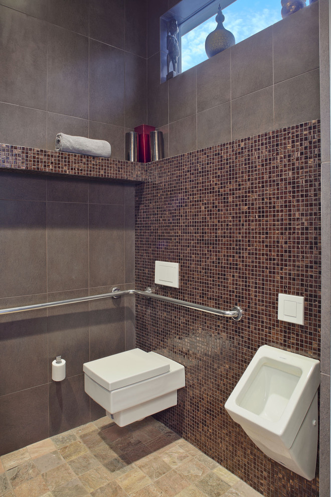 Toilet Safety Rails Powder Room Contemporary with Brown Built in Bench Door Less Doorless Funky Gerberit Grab Bar Grey Ledge Modern