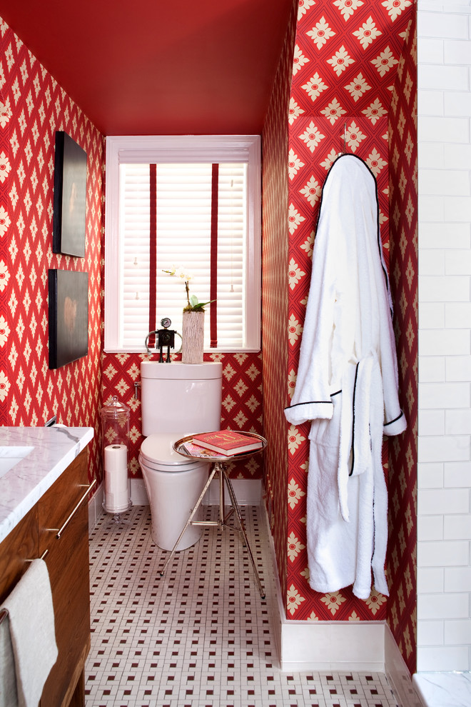 toilet tissue holder Bathroom Eclectic with black and white tiled floor red red wallpaper side table tiled floor