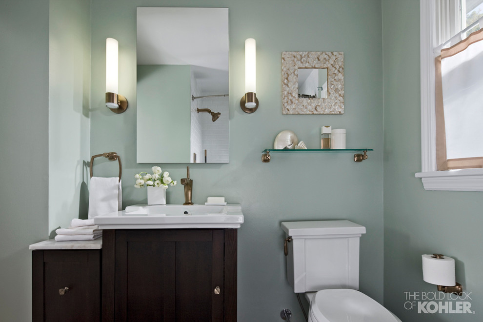 Toilet Tissue Holder Bathroom Transitional with Blue and Gold Touches Accent Bronze and Blue Bathrooms Bronze Bathroom Faucets
