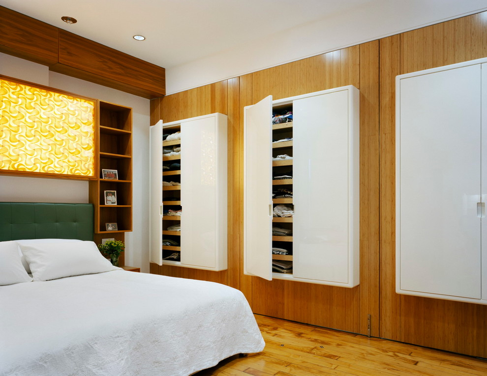Toiletry Kit Bedroom Contemporary with Backlit Panel Closet Cupboards Cubbies Green Upholstered Beds Niche Pivoting Walls Recessed