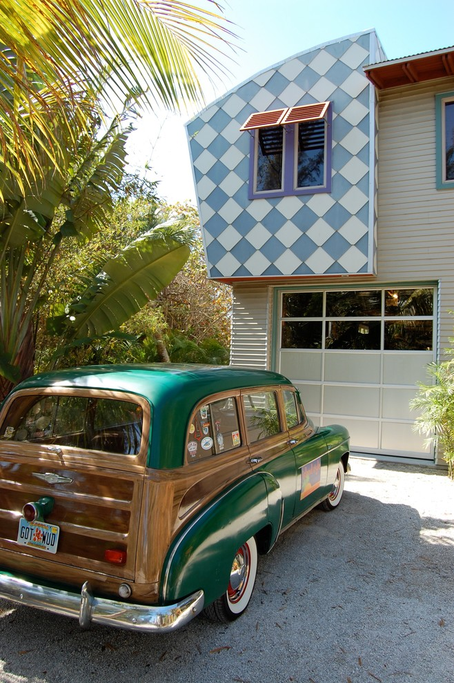 Toiletry Kit Exterior Eclectic with Artistic Awning Checkerboard Colorful Creative Cladding Fun Funky Garage Door Gravel Drive