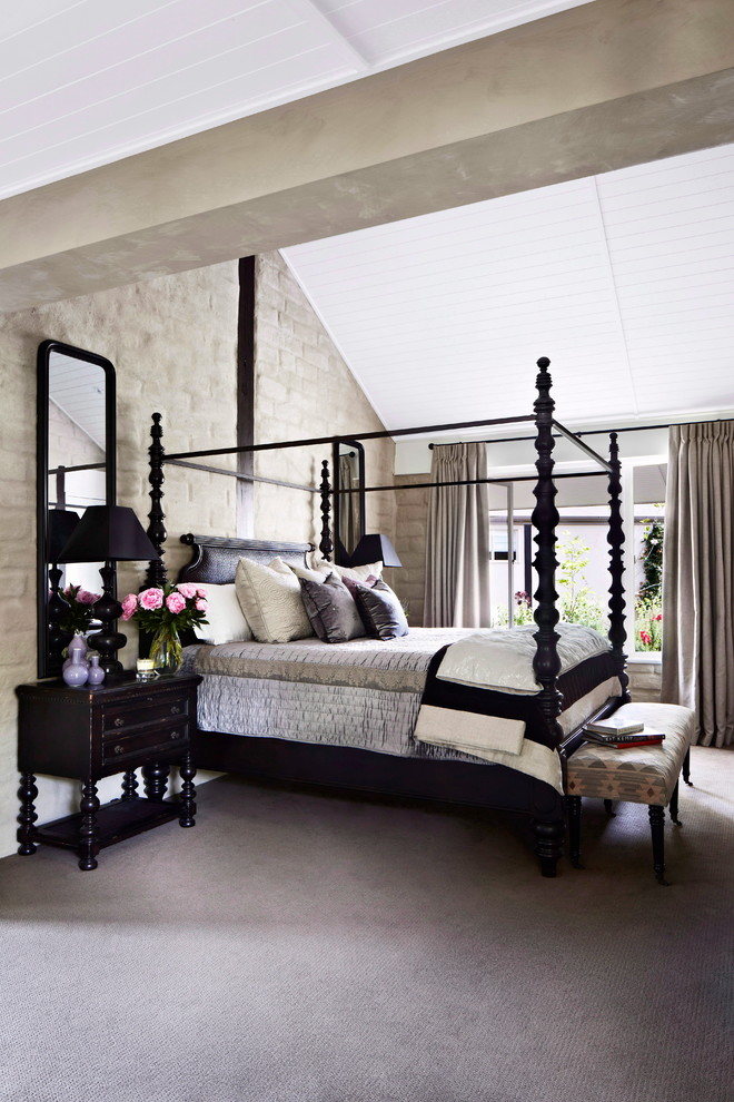 Tommy Bahama Bedding Bedroom Farmhouse with American Oak Flooring Bed Stool Black Four Poster Bed Contemporary Design Country