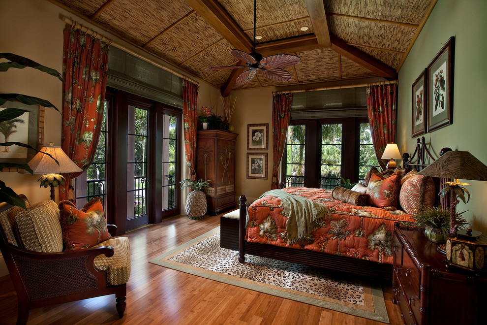 tommy bahama bedding Bedroom Tropical with bamboo bamboo ceiling bamboo shades green walls leopard print rug red coverlet