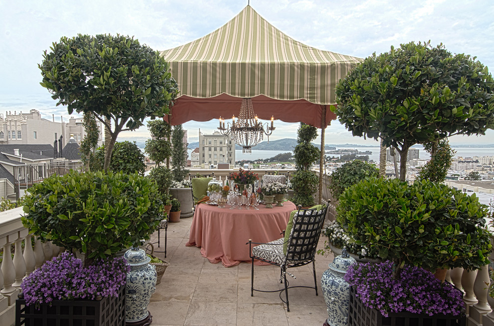 Topiaries Patio Traditional with Canopy Gazebo Green and White Tent Outdoor Chandelier Outdoor Decor Outdoor Dining