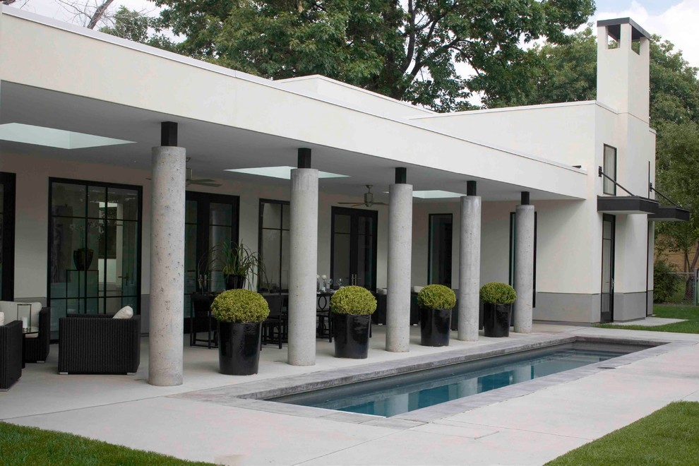 Topiary Plants Pool Contemporary with Black Pots Black Trim Column Covered Patio Flat Roof Large Window Overhang