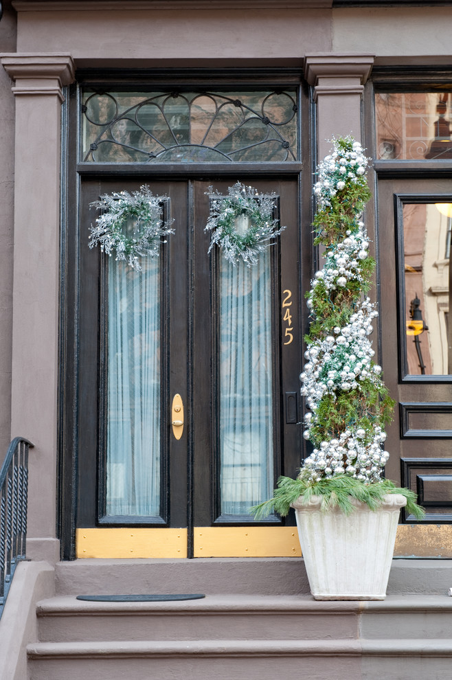 topiary trees Entry Traditional with back bay black front door boston Christmas decor decorations front door front
