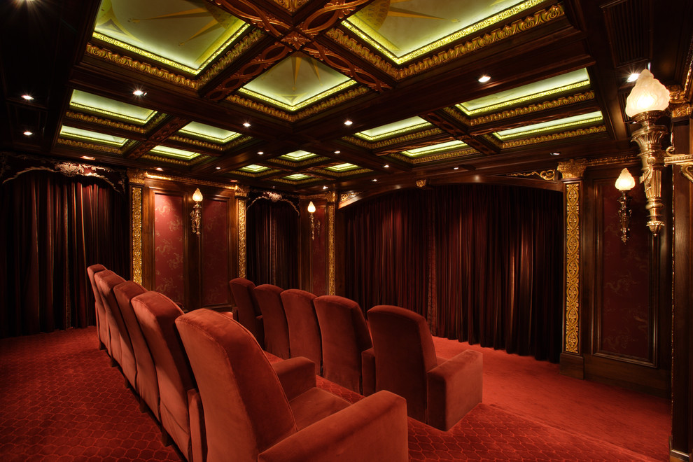 torch lamp Home Theater Traditional with bronze light ceiling lighting ceiling treatment coffered ceiling cove lighting fabric walls