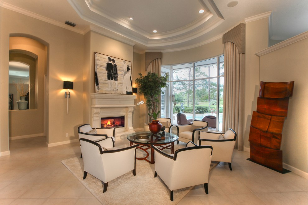 Torchiere Living Room Traditional with Beige Drapes Beige Rug Beige Tile Floor Beige Walls Black and White