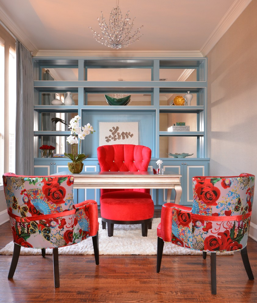 tosh furniture Home Office Transitional with blue shelves bright colors built in built-in storage colorful accents Donghia natural