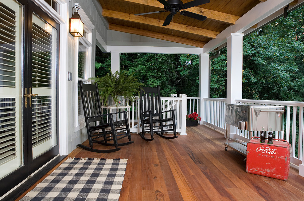Tosh Furniture Porch Traditional with Black and White Black Trim Ceiling Fan Coca Cola Fern Gingham Area