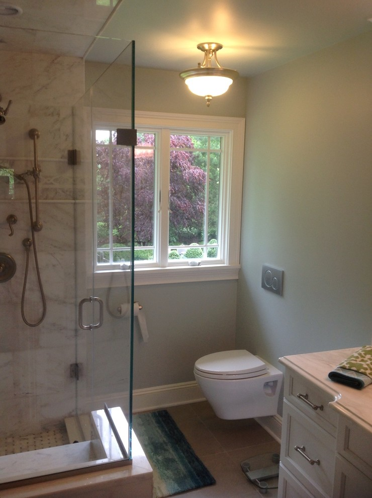 Toto Aquia Bathroom Traditional with Akdo Bella Marble Calacutta Marble Counter Farrow and Ball Skylight Paint Toto