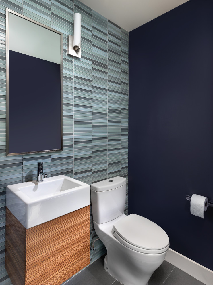 Toto Aquia Powder Room Contemporary with Blue Floating Cabinet Glass Tile Mirror Single Sink Vanity Vessel Sink Wall