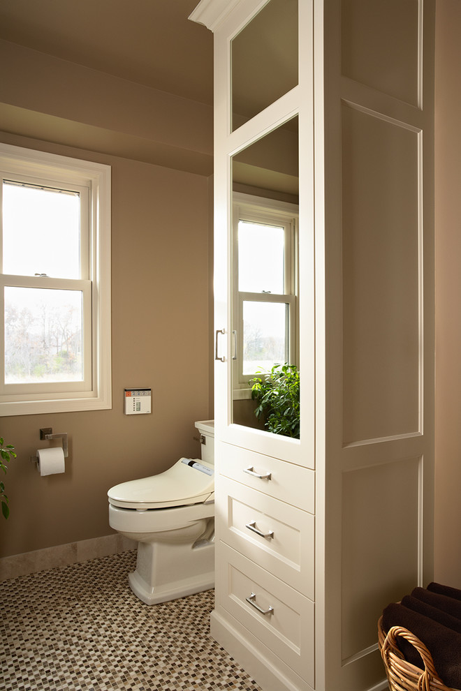 toto bidet Bathroom Transitional with linen cabinet mirrored cabinet mosaic stone floor Totto toilet washlet white bathroom