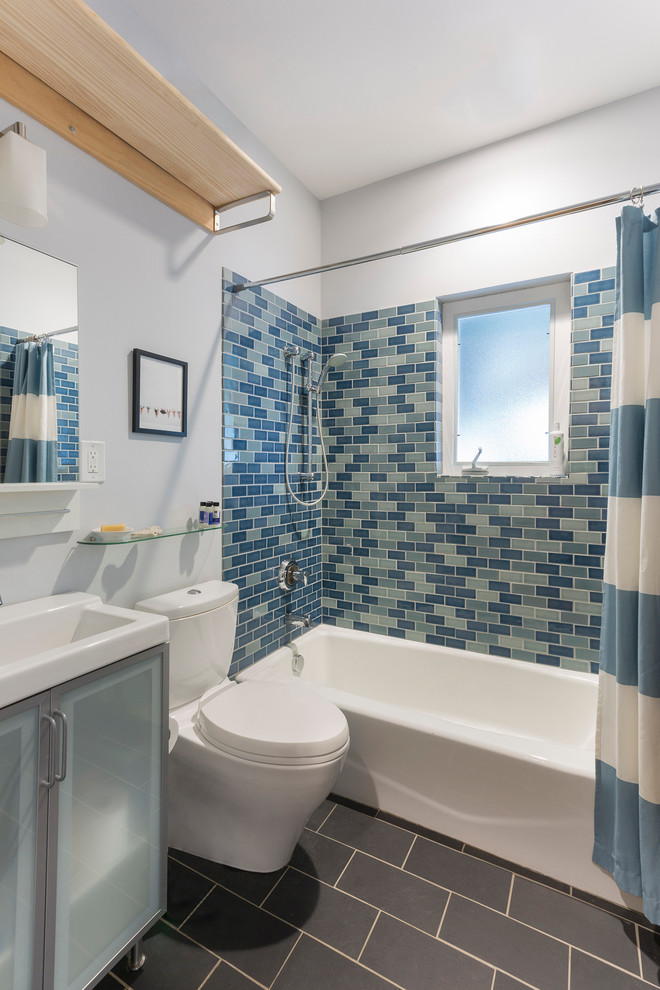 Toto Sinks Bathroom Contemporary with Ann Sacks Bathroom Blue and White Shower Curtain Blue Tile Wall Charcoal