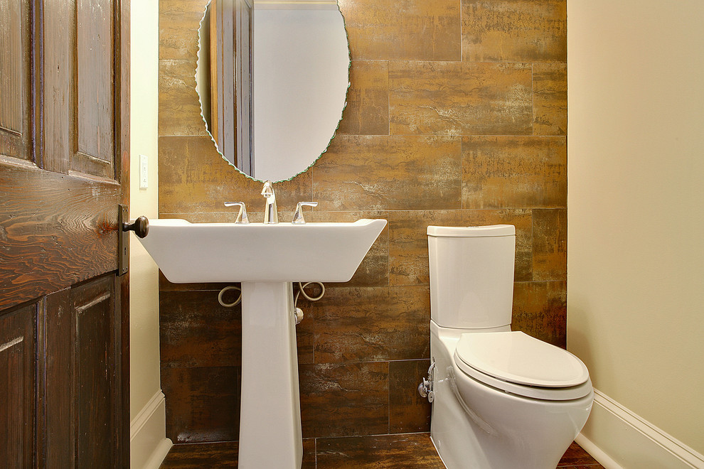 Toto Sinks Bathroom Contemporary with Oval Mirror Sink Stone Tile Tiled Floor Tiled Wall Toilet Wood Door