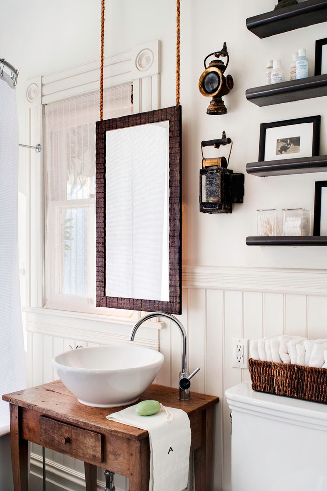 Toto Sinks Bathroom Eclectic with Beadboard Corner Blocks Hanging Mirorr Molding Shelves Vessel Sink Vintage Vanity Wainscotting