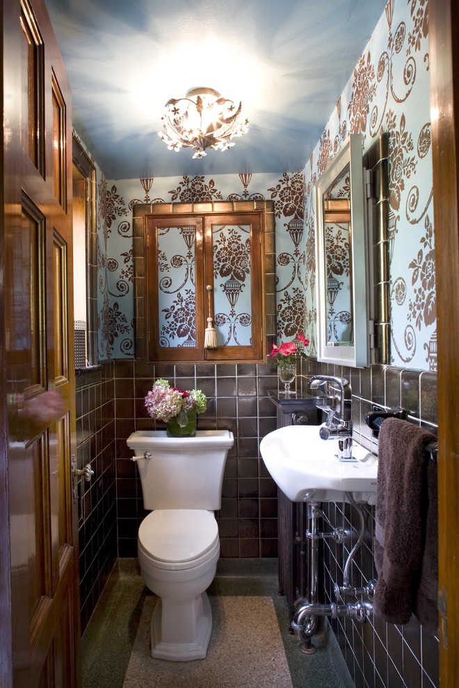 Toto Toilet Powder Room Victorian with Black Tile Blue Ceiling Floating Sink Flowers Flush Lighting Lighting Fixture Mirrors