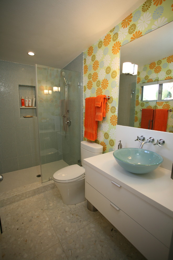 Toto Toilets Bathroom Modern with Alcove Flush Cabinet Glass Shower Wall Mirror Mosaic Tile Orange Shower Curb