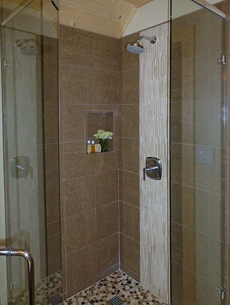 Toto Wall Hung Toilet Bathroom Transitional with Crema Marfil Counter Custom Shower Enclosure Geberit in Wall Tank Hansgrohe Raindance Showerhead