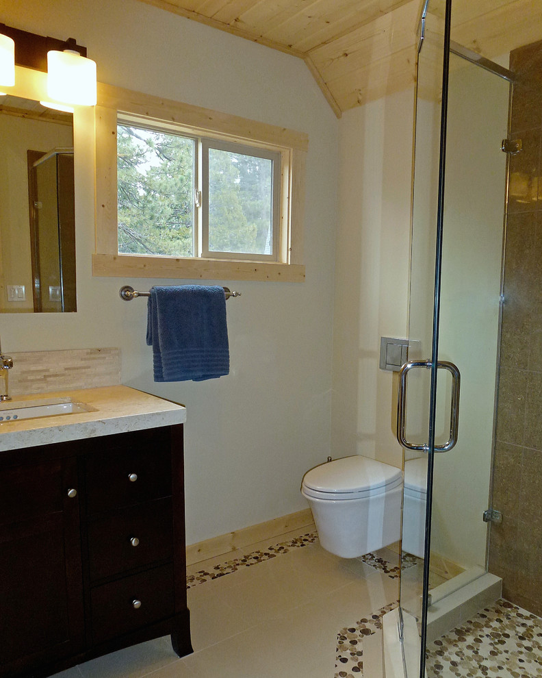 Toto Wall Hung Toilet Bathroom Transitional with Crema Marfil Counter Custom Shower Enclosure Geberit in Wall Tank Hansgrohe Raindance Showerhead1