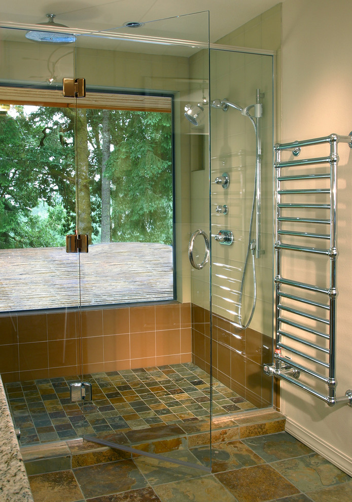 Towel Warmer Bathroom Eclectic with Ann Sacks Tile and Stone Beige Chrome Contemporary Plumbing Glass Shower Enclosure