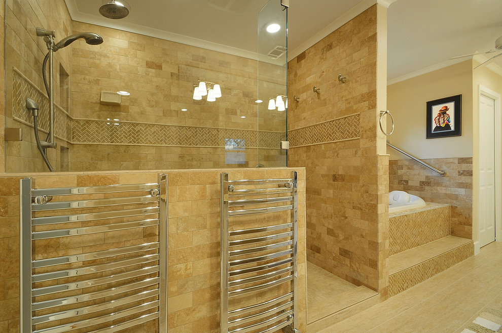 towel warmer Bathroom Traditional with accent tile bathtub beige champagne chrome frameless shower frameless shower glass gold