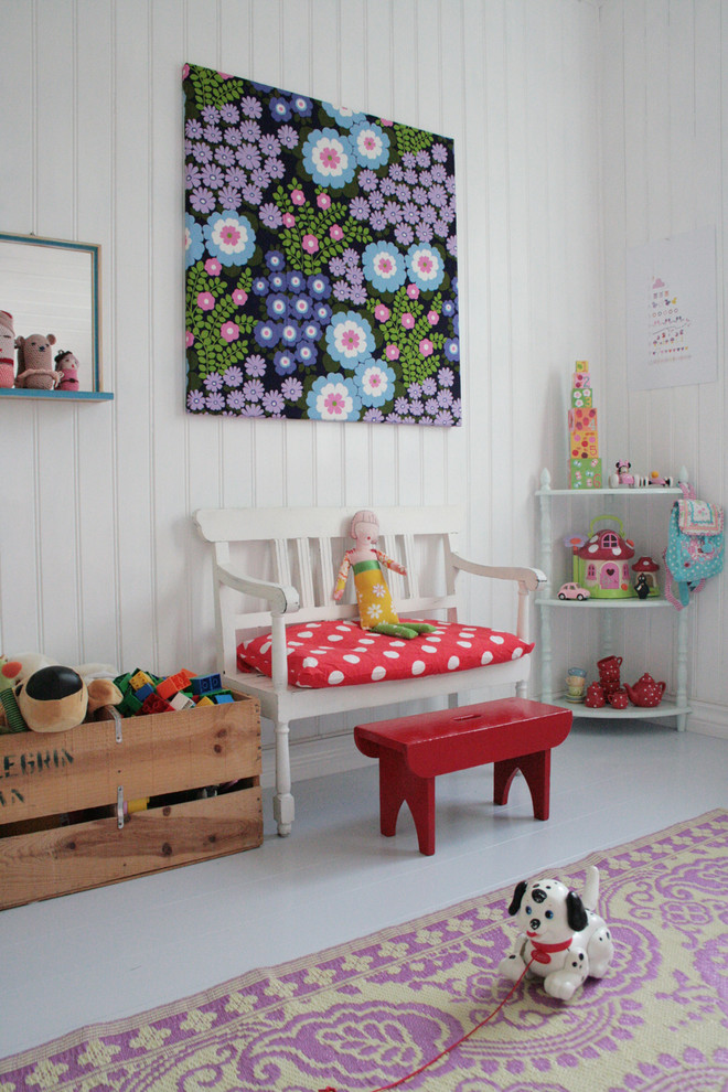 Toy Chests Kids Scandinavian with Area Rug Beadboard Bedroom Painted Wood Polka Dot Toy Storage Wall Art