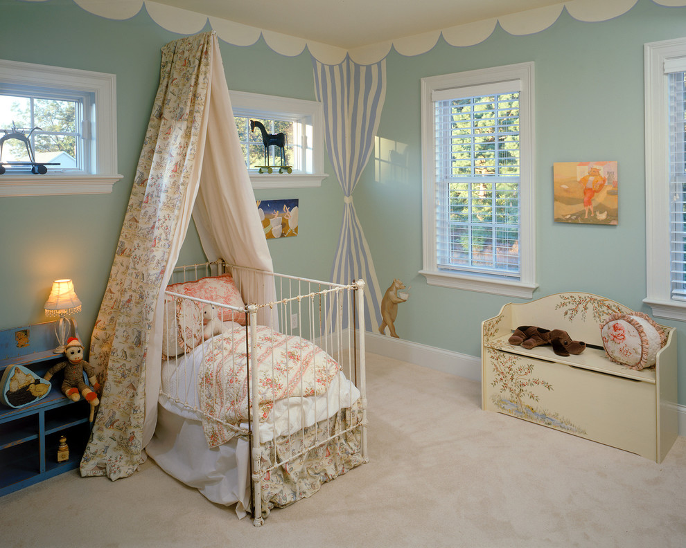 Toy Chests Nursery Traditional with Blinds Canopy Carpeting Iron Crib Light Blue Mural Painted Scallops Toy Chest