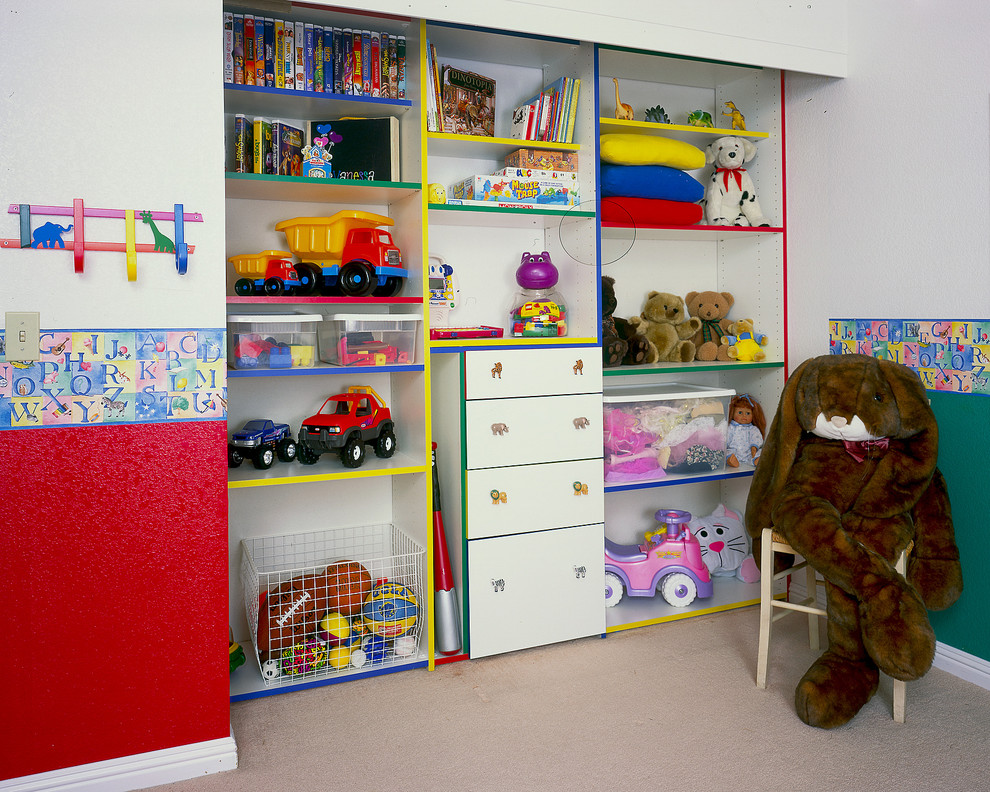 Toy Organizers Kids Traditional with Built in Chest of Drawers Closet Cubbies Drawer Pulls Green Wall Playroom
