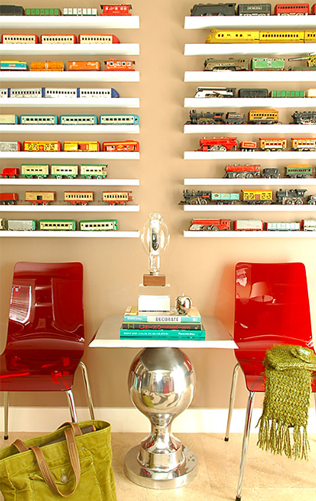 train table with drawers Home Office Contemporary with antique caboose chair chrome table base collection colorful display floating shelves locomotive
