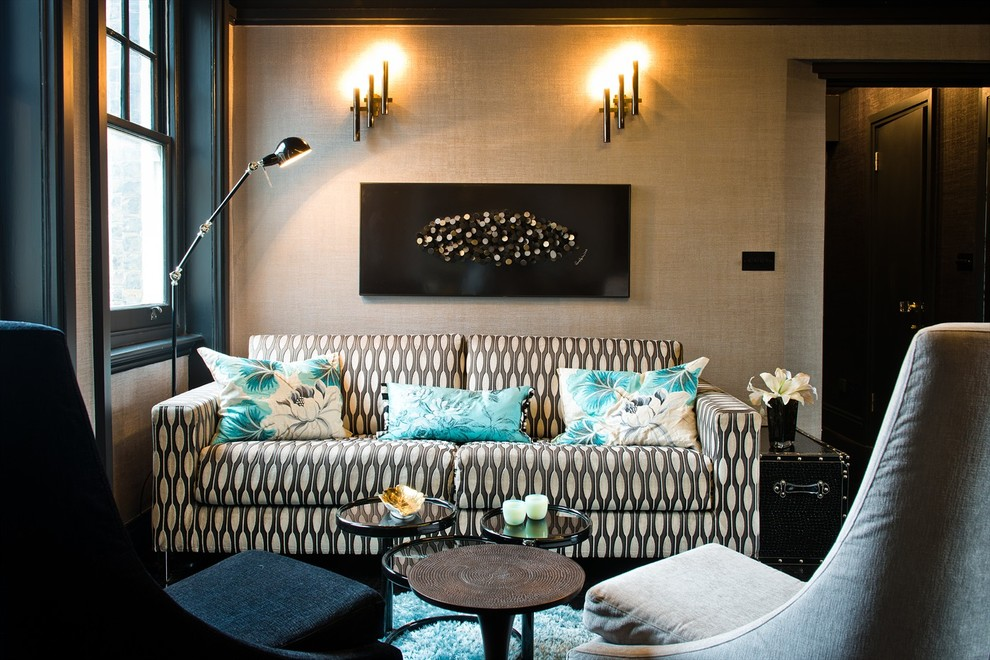 trellis designs Living Room Contemporary with city apartment contemporary apartment floral cushions grey armchair Mayfair apartment modern apartment