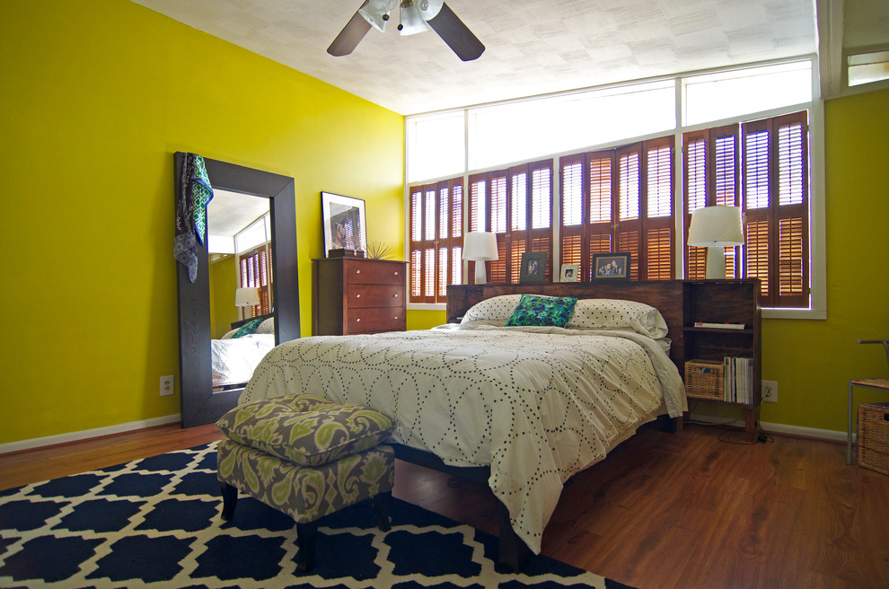 Trellis Rug Bedroom Midcentury with Area Bedding Blinds Chartruse Fan Green Moroccan Ottoman Rug Vintage Walls White