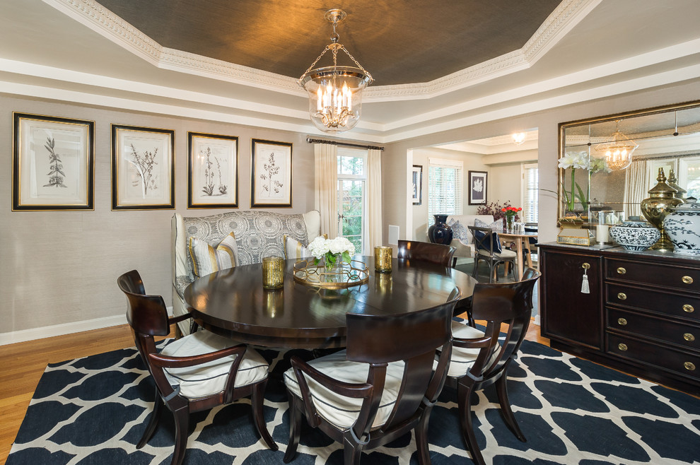 trellis rug Dining Room Traditional with beige molding beige patterned banquette beige patterned booth beige wall black buffet