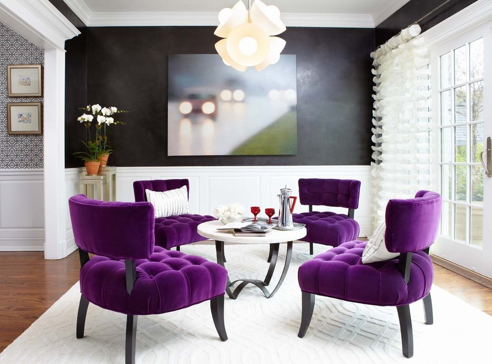 Trellis Rug Living Room Contemporary with Charcoal Walls Contemporary Chandelier French Doors Oly Coffee Table Orchid Purple Chairs