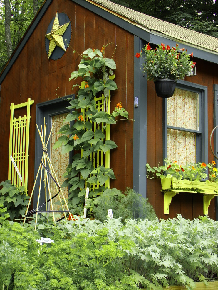 Trellises Garage and Shed Rustic with Container Garden Cottage Garden Dark Gray Siding Garden Shed Green Flower Box