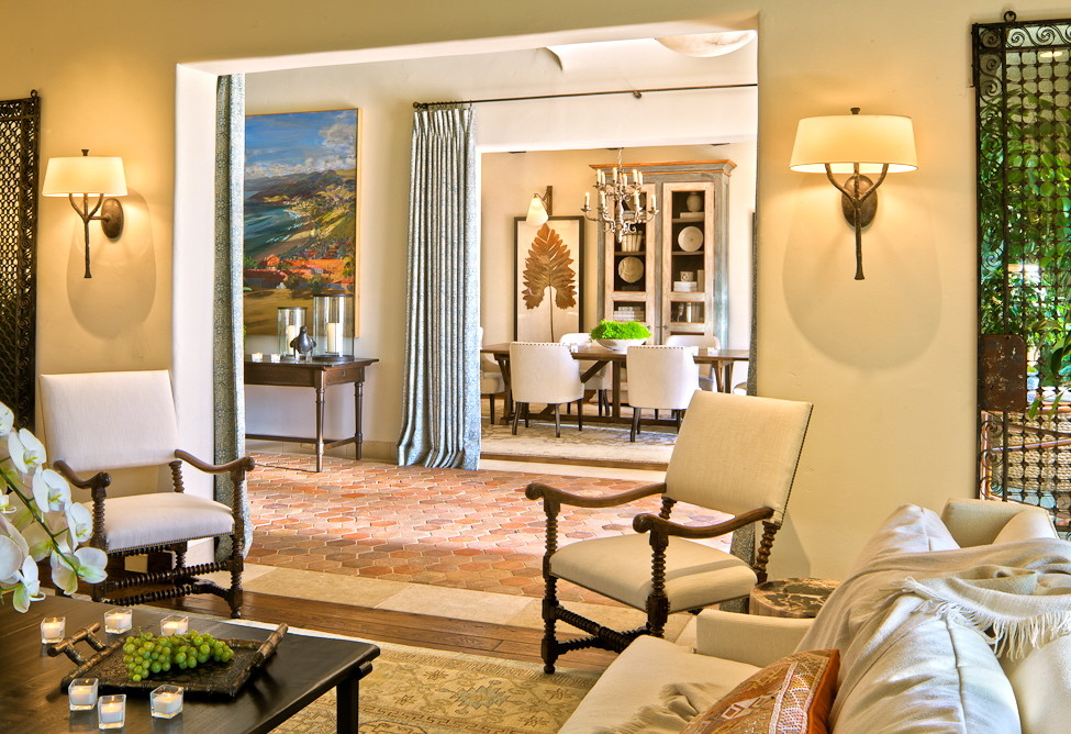 Trellises Living Room Mediterranean with Antiqued Mirror Bronze Sconce Linen and Wood Chairs White Sofa