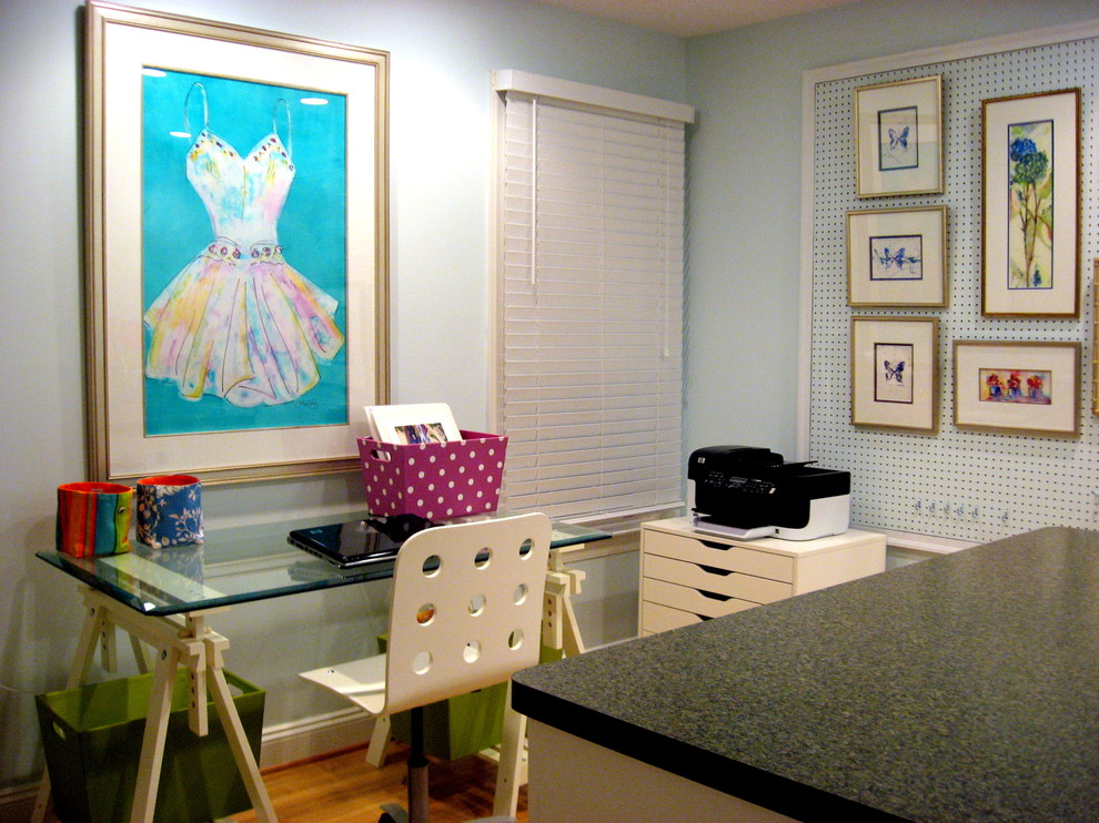 Trestle Desk Home Office Contemporary with Art Studio Benjamin Moore Paints Blue Wall Computer Work Station Contemporary Home