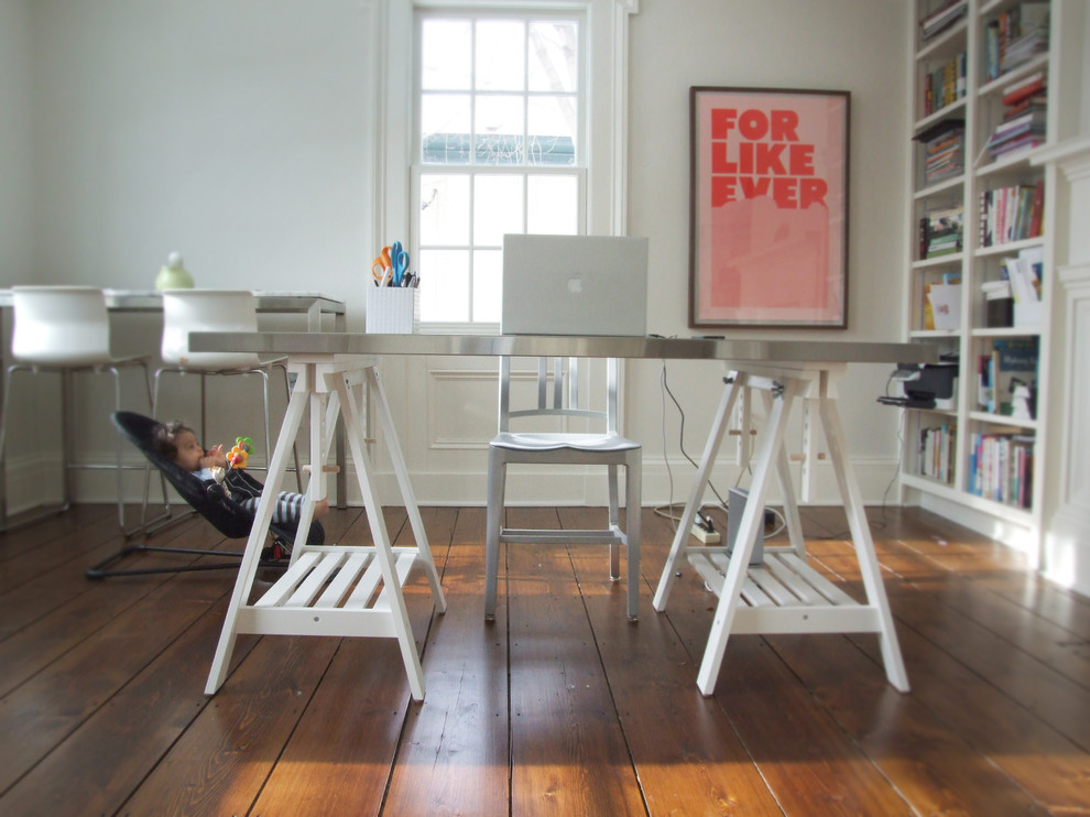 trestle desk Home Office Eclectic with bookcase bookshelves built in shelves Eclectic Ikea modern Navy Chair neutral colors