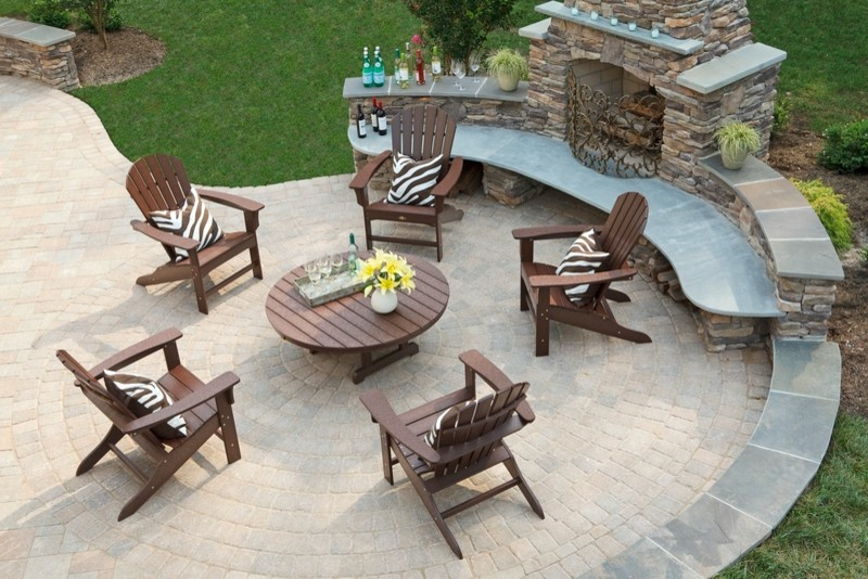 Trex Furniture Deck with Adirondack Chairs Composite Composite Decking Deck Eco Friendly Fireplace Screens Green Outdoor Decor