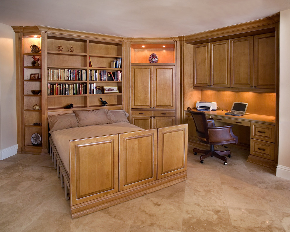 Tri Fold Mattress Home Office Traditional with Built in Cabinets Built in Desk Convertible Space Guest Room Home Office