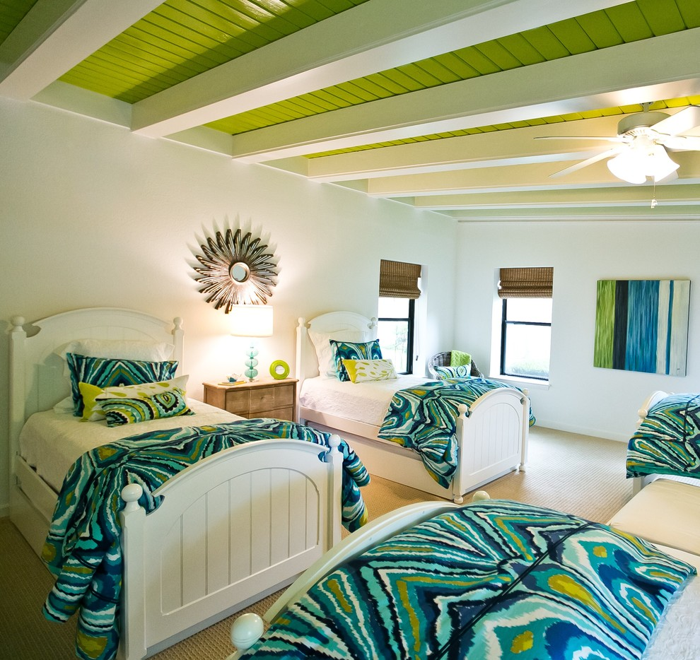 Trina Turk Bedding Spaces Transitional with Bunk Room Painted Beams Trina Turk Bedding Turquoise and Apple Green