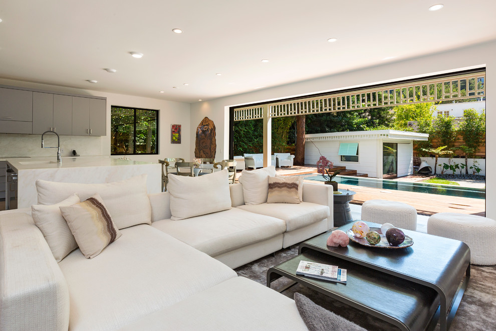 Trivets Family Room Contemporary with Bahama Shutters Bamboo Hedge Benjamin Moore White Black White Brushed Nickel Hardware