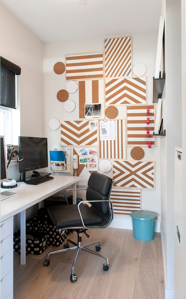 trivets Home Office Contemporary with black task chair black window shades blue trash can bulletin boards corkboard