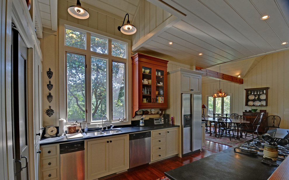 trivets Kitchen Traditional with beadboard ceiling beadboard walls custom dark stained wood floor envision exposed beams